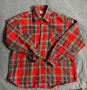 Vintage 1960s Mens PNH Red Plaid 100/% Cotton Button Up Work FLANNEL Shirt Size Medium NOS Deadstock Tag Big Mac Penneys Unworn Workwear