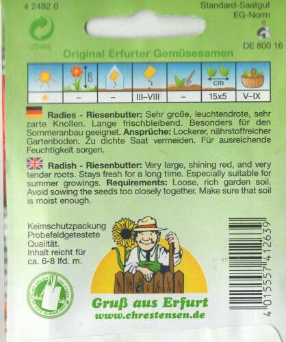 Radies Riesenbutter Sommeranbau Radieschen Saatgut Samen Gemüse