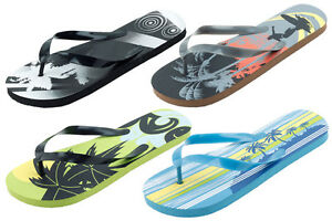 Mens-Flip-Flops-Surfing-Beach-Design-Sandals-Green-Black-Blue-Gray-NEW