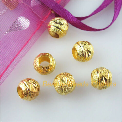 25 New Charms Loose Round Ball Copper Flower Spacer Beads Gold Plated 8mm