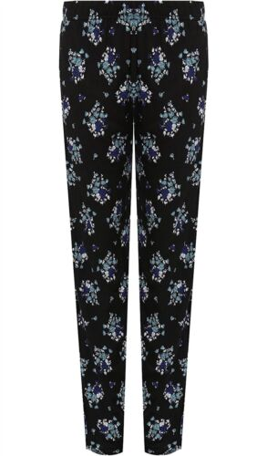 Womens Floral Print Full Length Trousers Ladies Elasticated Waist Party Pants