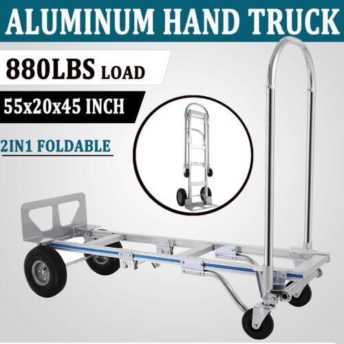 2in1 Aluminum Hand Truck Convertible Folding Dolly Platform Cart 880LBS Capacity