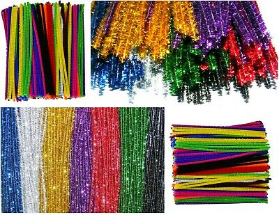 """100 Green Pipe Cleaners Chenille 6/"""" 155mm x 5mm Stems Craft Fuzzy Sticks Arts UK"""