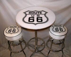 2-Route-66-White-Bar-Stools-amp-Pub-Table-New