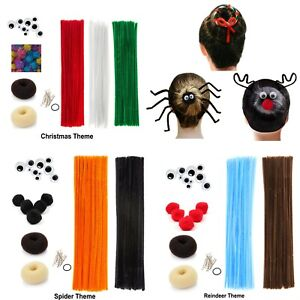 Details About Kid Hair Craft Accessory Costume Spider Reindeer Christmas Chenille Pipe Cleaner