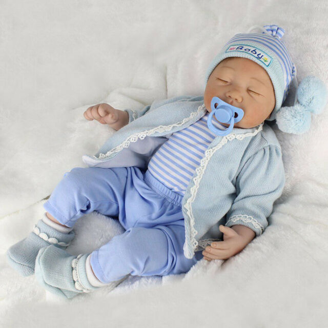 "22/"" Full Body Vinyl Silicone Newborn Baby Boy Doll Xmas Gifts Reborn Baby Dolls"
