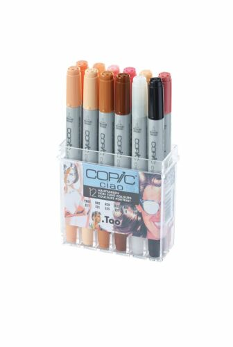 COPIC CIAO PENS GRAPHIC ART MARKERS 12 SKIN TONE COLOUR SET FAST SHIPPING