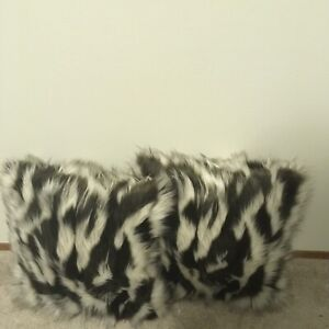 Faux-Fur-Tibetan-Sand-Fox-Ivory-Brown-Pillow-Cover-18-x-18-in-Set-of-2