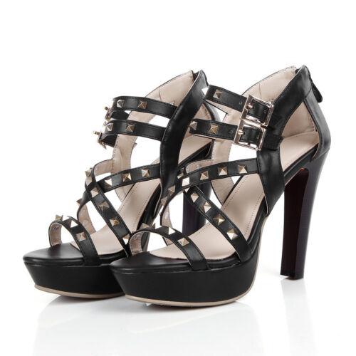 Women Cross Strappy Peep Toe High Heel Punk Rock Platform Spikes Sandals Shoes