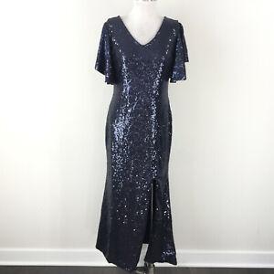 JY Dress M L Navy Blue Sequin Formal Gown Evening dress