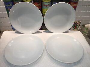 4 Rare Apilco France Porcelain Tonga Dinner Plates All White 9 7 8