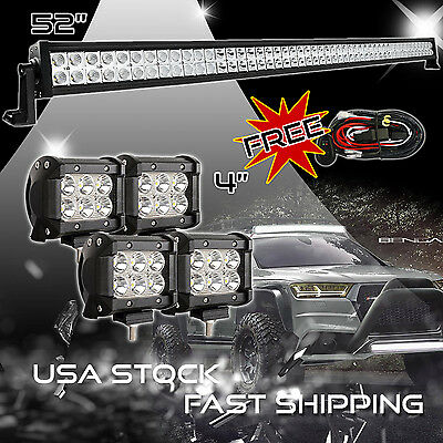 "52Inch LED Light Bar Combo +4x 4"" CREE PODS OFFROAD SUV 4WD ATV FORD JEEP 50"""