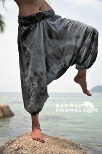 Hemp Harem Pants Hippie Grey Yoga Plain Loose Boho Ladies Gypsy Festival Aladdin