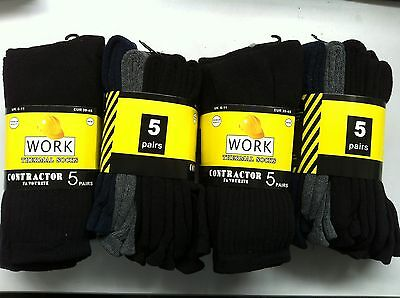 20 PAIRS QUALITY THERMAL MENS 5PK WORK BOOT SOCKS SIZE: 7-11 (BLK,NAY,GRY MIXED)