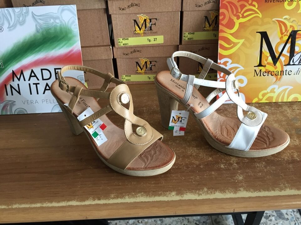 Sandali mercante di fiore positano scarpe shoe sandalo pelle 37-38 zeppa zeppe scarpe positano df0450