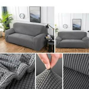 Details about HOT 1-3 Seater Sofa Settee Covers Couch Slipcovers Stretch  Elastic Fabric Grey