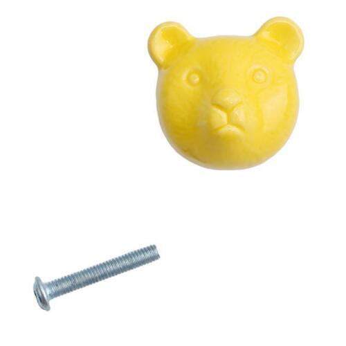 Animal Bear Ceramic Door Knobs Cabinet Drawer Wardrobe Cupboard Pull Handle RU