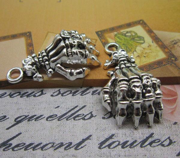 wholesale 6/20pcs Retro Style alloy ancient silver Skeleton hands Charm pendant