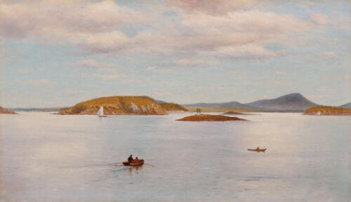 Oil painting Charles Henry Gifford Landscape Near Bear Island Maine Hand painted