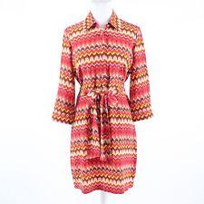 Orange yellow geometric BETH ROWLEY button chest 3/4 sleeve shirt dress 6