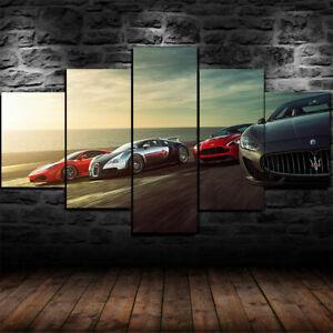 5 Piece Home Decor Canvas Print Modern Wall Art Bugatti Chiron Sports Car Poster