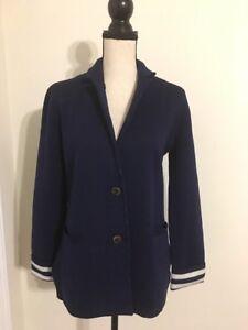 91c88c040acc1 New J Crew Merino Wool Sweater-blazer with Striped Lining Navy Sz S ...