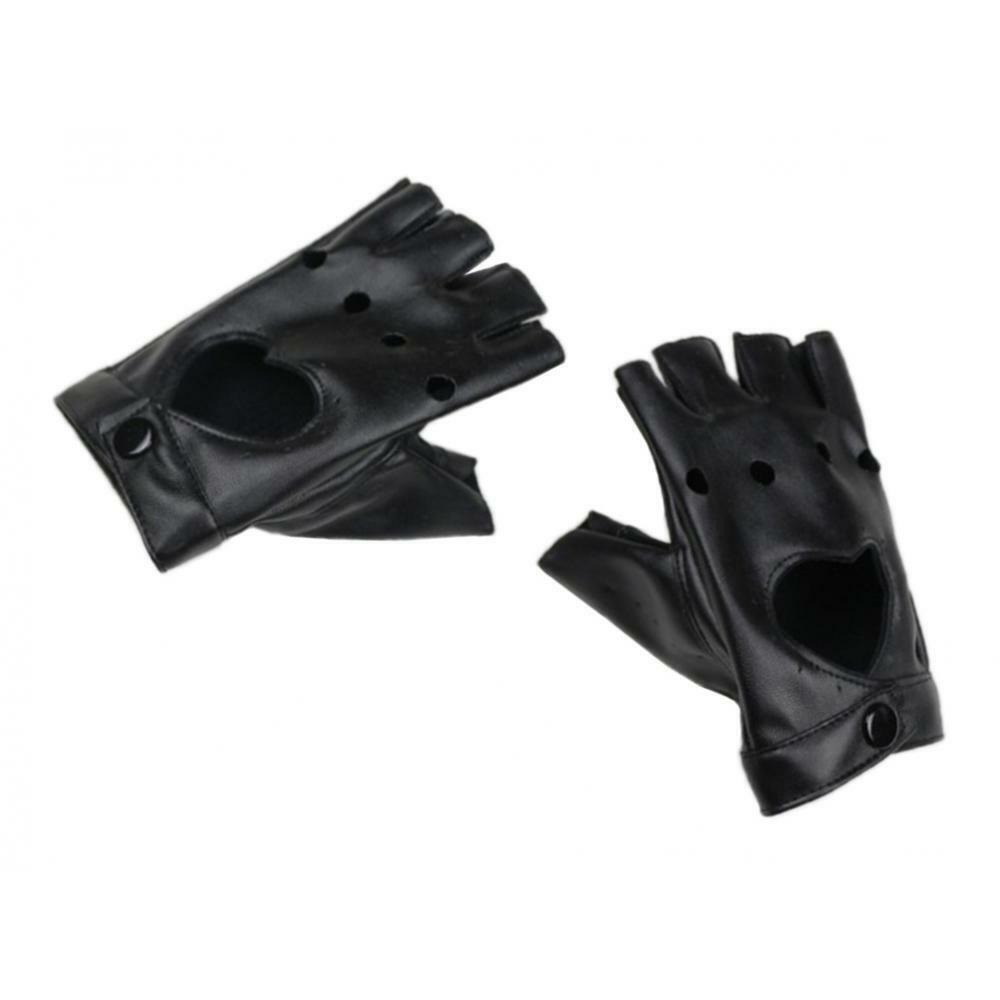 1 Pair Half Finger Gloves Women Leather Heart Mitten Pole Dancing Gloves