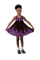 Girls Purple/black Batik Cotton Summer Dress, Made In India. Size Medium.