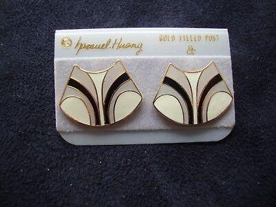 VINTAGE SAMUEL HUANG CLOISONNE EARRINGS WHITE GRAY BLACK ENAMEL GOLD FILLED POST