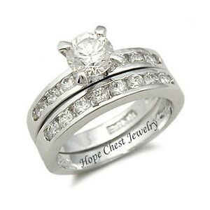 CZ WEDDING RINGS Solitaire CZ Engagement Ring and Wedding Band