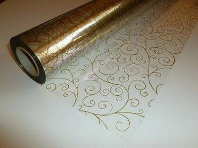 50 Metres x 80cm Christmas Gold Scroll Swirl Cellophane Roll Clear Gift Wrap
