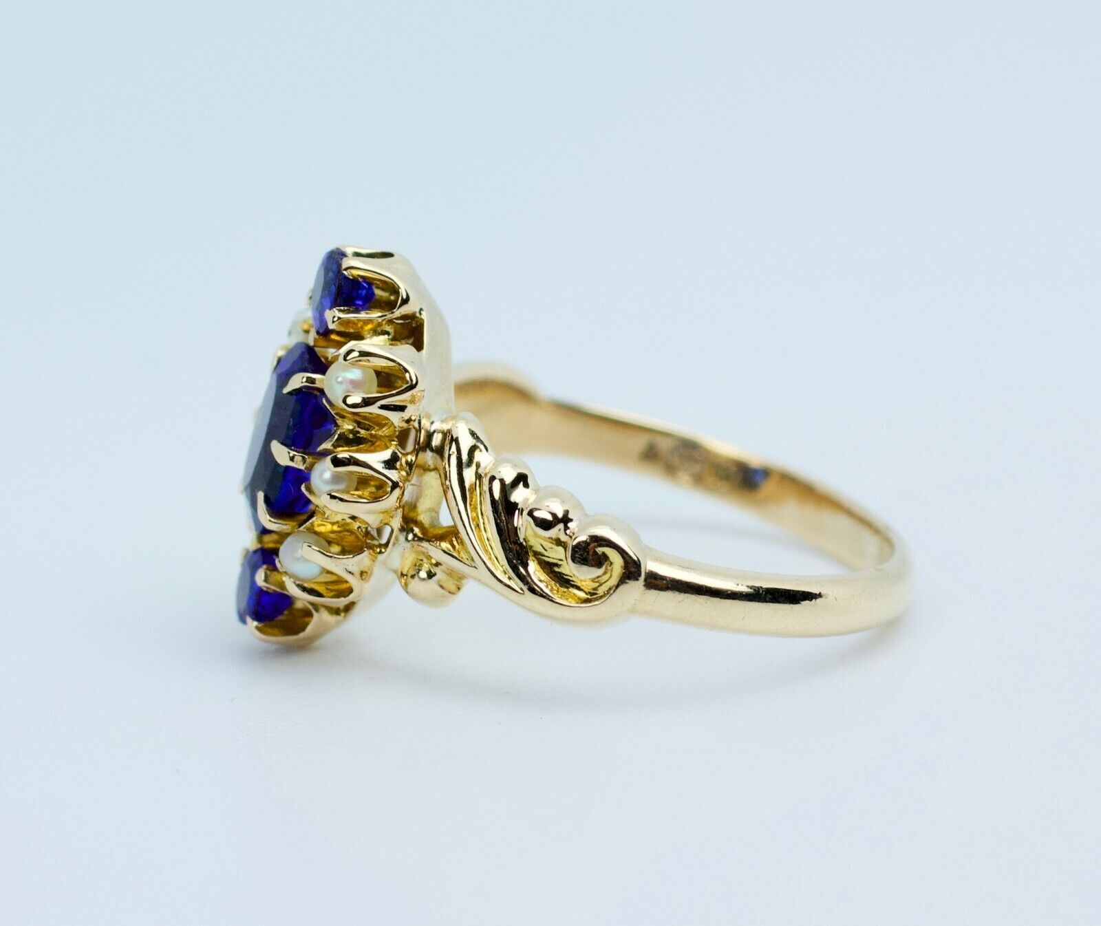 Vintage 14k Yellow Gold Oval Blue Synthetic Sapph… - image 9