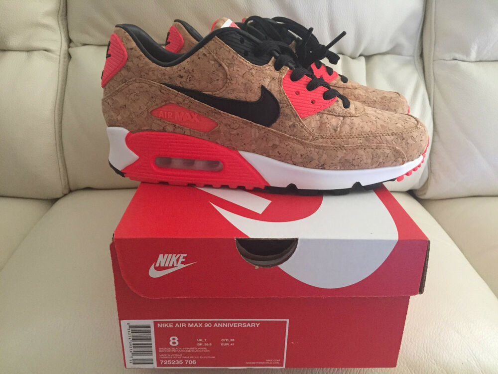 NIKE AIR MAX 90 Cork Infrared Baskets Baskets Chaussures Taille UK 7 7.5 8.5 10 NEUF-