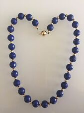14K Gold Natural Lapis Lazuli 10mm Beads Necklace