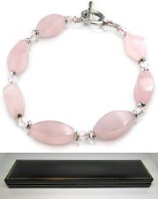 Real pink rose quartz natural gem stone ladies bracelet in black gift box