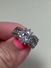Victoria Wieck 10KT white gold filled sapphire diamonique ring size 8