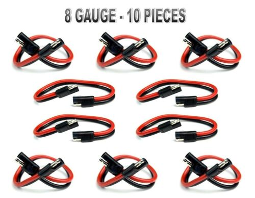 "10 Pieces 8 Gauge 12/"" Quick Disconnect Polarized Inline Power Cable Wire Harness"