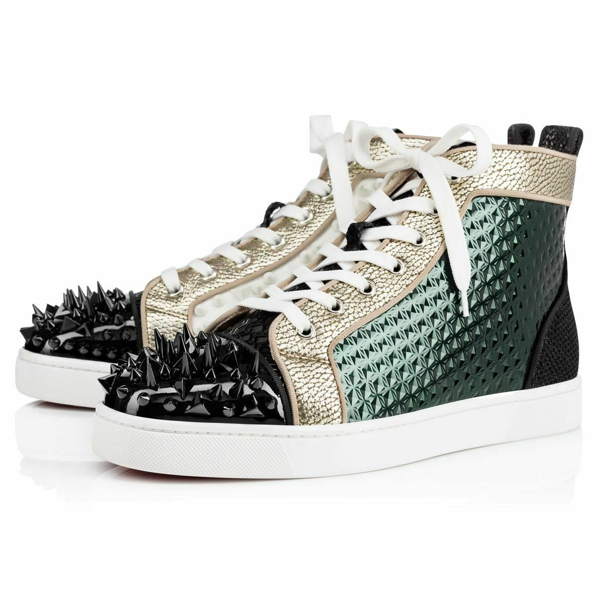 Christian Louboutin Mens Louis Pik Bis Spike Patent Flat High Top Sneaker 46