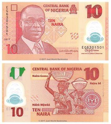 Nigeria 10 Naira 2017 Polymer P-New Banknotes UNC