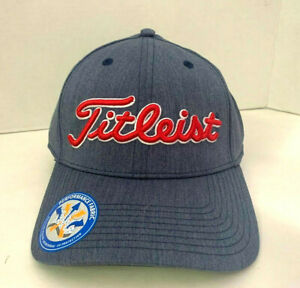 NEW! TITLEIST Unisex Performance Heather Fitted Hat-Blue-Grey/Red [S/M]