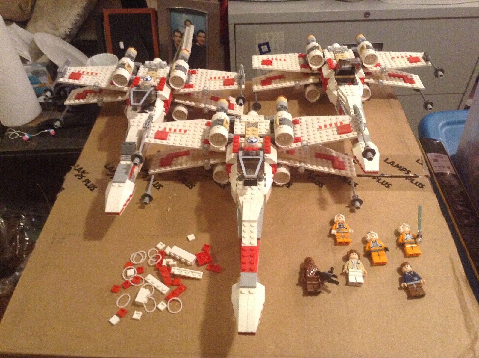 Lote de 3 Lego Guerra De Las Galaxias X-Wing Fighter 6212 100% completo con manual y los higos 1