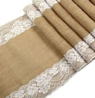 Long Burlap Table Runner With White Lace For A Wedding Baby Bridal Rustic Decor