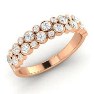 0.90 Ct Round Moissanite Eternity Band 14K Solid Rose Gold Wedding Ring Size 6 7