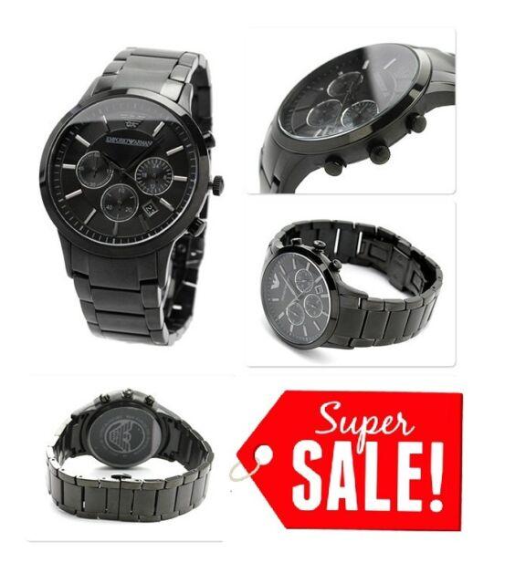 NEW Emporio Armani AR2453 Men s Black Stainless Steel Chronograph Quartz  Watch 9188608ad52