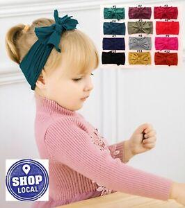 Baby-Kids-Children-Girls-Christening-Shower-Bow-Elastic-Hair-Head-band-Headband