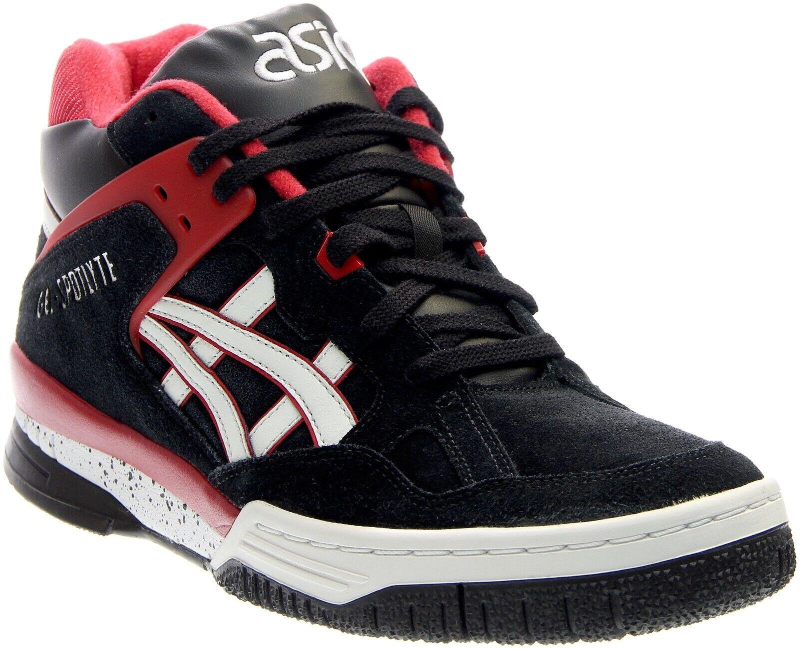 Mens Asics Gel Spotlyte High Top Sneakers - Black White Red [H525L 9001]