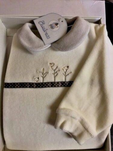 Cambrass Ivory Designer Velvet Embroidered Baby Girls Sleepsuit Playsuit Babygro