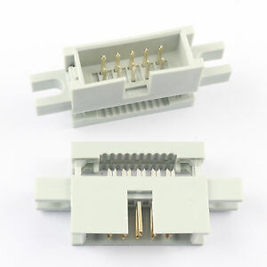 5Pcs 2.54mm 2x5 Pin 10 Pin IDC Male Box Header Flat Cable Connector Mounting Ear