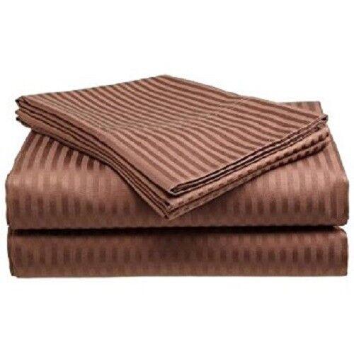 King Size Coffee Stripe 4 Pc Sheet Set 1000 Thread Count 100% Egyptian Cotton