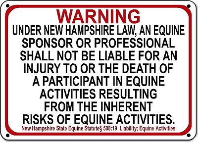 RHODE ISLAND Equine Sign activity liability warning statute horse barn stable